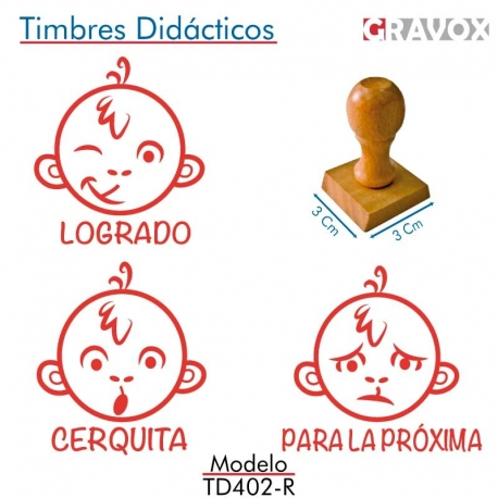 Pack 3 timbres didácticos en forma de mono con texto personalizable de Color Rojo