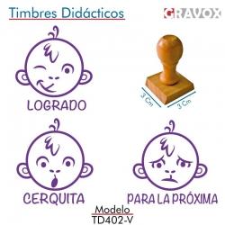 Pack 3 timbres didácticos en forma de mono con texto personalizable de Color Violeta
