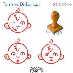 Pack de 3 timbres de madera didácticos en formato de mono Color Rojo