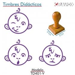 Pack de 3 timbres de madera didácticos en formato de mono Color Violeta