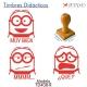 Pack de 3 timbres didácticos de caricaturas Bob con texto personalizable Color Rojo