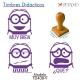 Pack de 3 timbres didácticos de caricaturas Bob con texto personalizable Color Violeta
