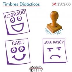 Pack 3 timbres didácticos en forma de posit con texto personalizable Color Violeta