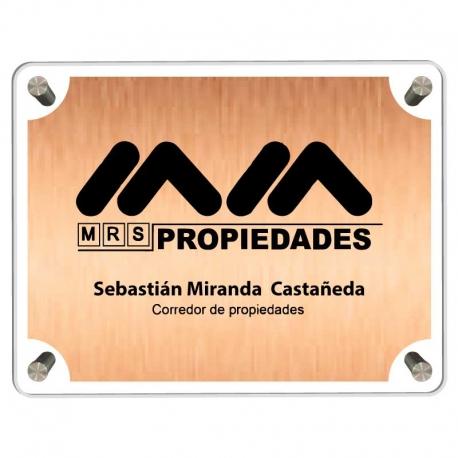 Letrero para oficina de 44,5x29,5 cms con placa metalizada