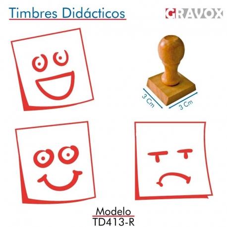 Pack de 3 timbres de madera didácticos en formato de posit Color Rojo