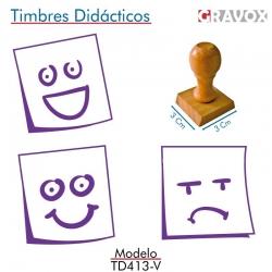 Pack de 3 timbres de madera didácticos en formato de posit Color Violeta