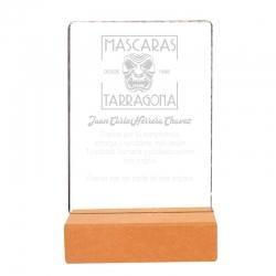 Galvano de Acrílico con base de madera Mediano, Incluye Grabado láser Gratis