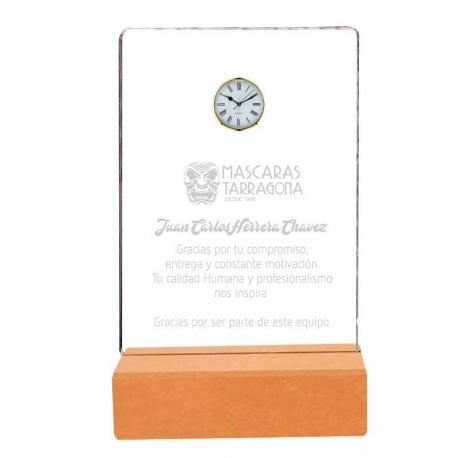 Galvano de Acrílico Mediano con Reloj y Base de Madera , Incluye Grabado láser Gratis