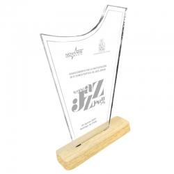 Galvano acrílico transparente Morde S con base de madera con grabado láser y caja