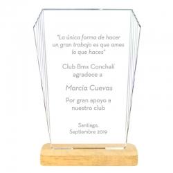 Galvano acrílico transparente Torreón S 10x14,4 cms con grabado láser y caja