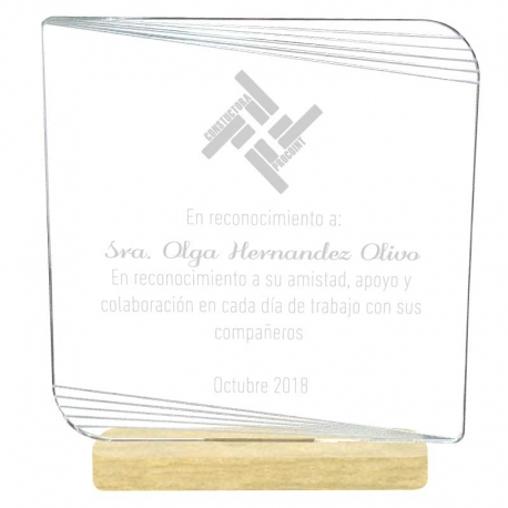 Galvano Acrílico Cuadrado 12,5 cms con base madera incluye grabado láser y caja de presentación