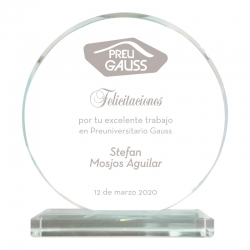 Galvano de Cristal Modelo Redondo Chico con grabado láser