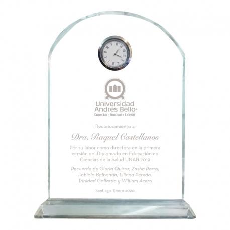 Hermoso Galvano de Cristal Reloj Altar Fino M (Mediano), Incluye grabado láser