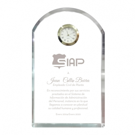 Galvano de Cristal Reloj Altar L (Grande), Incluye caja de presentación
