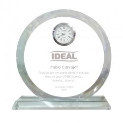 Galvano de cristal Reloj Redondo S (Pequeño), Incluye grabado láser