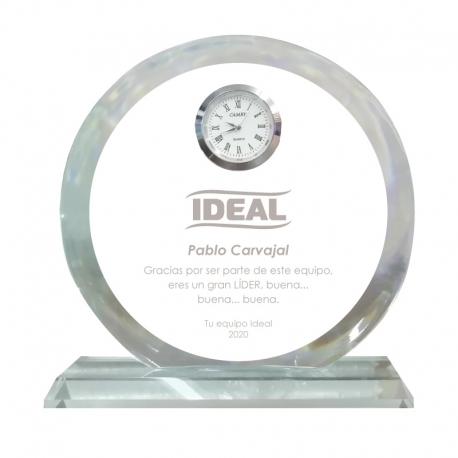 Galvano de cristal Reloj Circular S (Pequeño), Incluye grabado láser