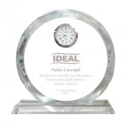 Galvano de cristal Reloj Redondo L (Grande), Incluye Grabado láser GRATIS