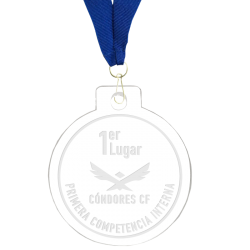 Medalla grabada 5 cms de diámetro elaborada en acrílico transparente de 4 mm de espesor