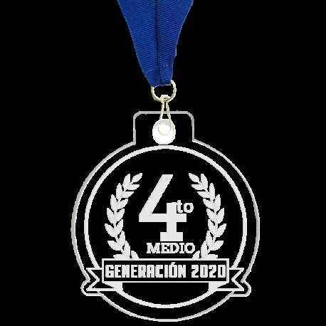 Medalla grabada 12 cms de diámetro elaborada en acrílico transparente de 4 mm de espesor