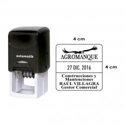 Timbre fechador automático 4x4 cms personalizable formato cuadrado, con texto sobre y bajo la fecha, también puede incluir logo.