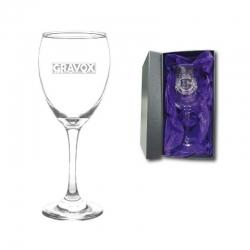Copa de Vino Versalles más caja de presentación y grabado láser. 296 cc