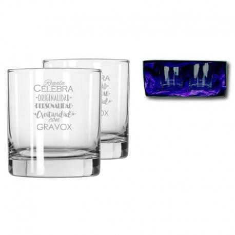2 Vasos de Whisky Chico, Incluye grabado láser y Caja de presentación