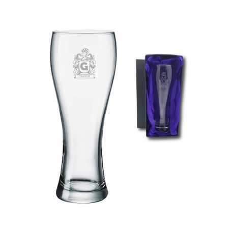 Vaso de Cerveza Praga L (GRANDE), Incluye grabado láser mas caja de presentación