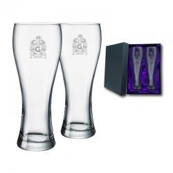 2 Vasos Cerveceros Praga M (Mediano) más caja de presentación, Incluye grabado láser. 420 cc