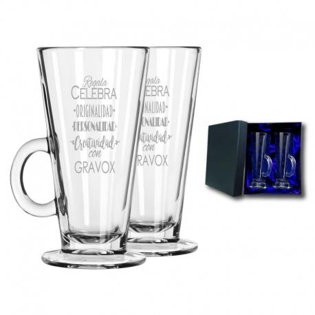 2 Tazas de Vidrio Cónica para Café mas caja de presentación, Incluyen grabado láser