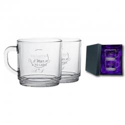 2 Tazas de Té y/o Café New Morning con caja de presentación. Grabado láser de regalo. 274 cc