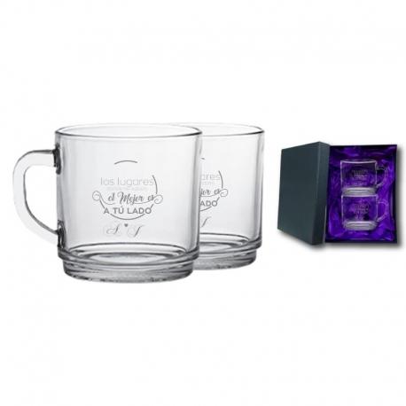 2 Tazas de Té y/o Café New Morning con caja de presentación. Grabado láser de regalo.