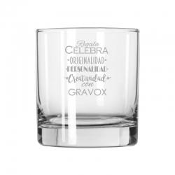 Vaso de Whisky Chico, Incluye grabado láser. 280 cc