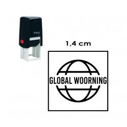 Timbre de Goma automático Traxx 9021. Mide 1,4x1,4 cms. sello cuadrado pequeñito.