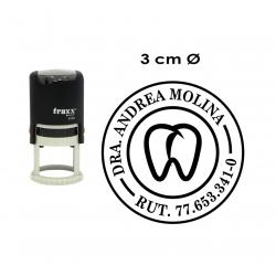 Timbre de goma automático circular de 3 cms personalizable serie económica