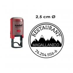 Timbre de goma automático redondo de 2,5 cms, marca Trodat 46025, completamente personalizable.