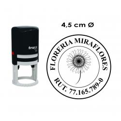 Timbre de goma automático Traxx 9045. Mide 4,5 cms. sello redondo grande para empresas e instituciones.