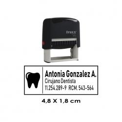 Timbre de goma automático Traxx 9012. Mide 4,8x1,8 cms. Sello Personalizable.