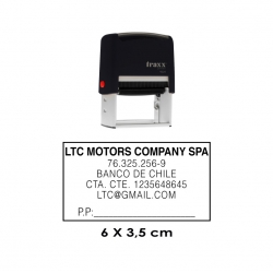 Timbre de goma automático Traxx 9028. Mide 6x3,5 cms. sello rectangular grande para logos, dibujos y textos.