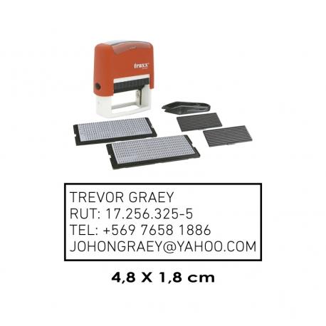 Timbre automático Traxx 8052 con textos personalizables incluye 2 plantillas