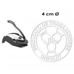 Timbre de Agua o Sello Seco Redondo de 4 centímetros de diámetro mod. Trodat Ideal Palanca, Incluye texto y logotipo