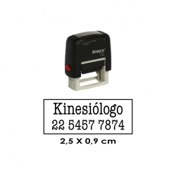 Timbre de goma automático Traxx 9010. Mide 2,5x0,9 cms, incluye texto personalizado.