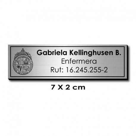 Piocha Identificación 7x2 centímetros - Plata Europeo / Negro