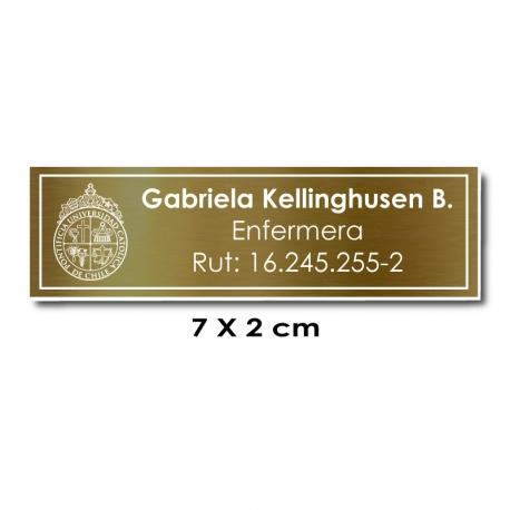 Piocha Identificación 7x2 centímetros - Dorado Oscuro / Blanco - elaboración EXPRÉS.
