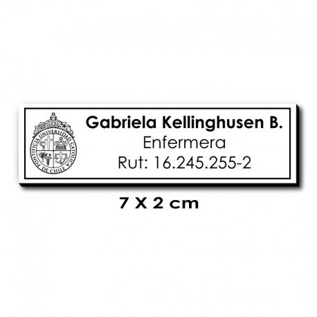 Piocha Identificación 7x2 centímetros - Blanco / Negro - elaboración EXPRÉS.