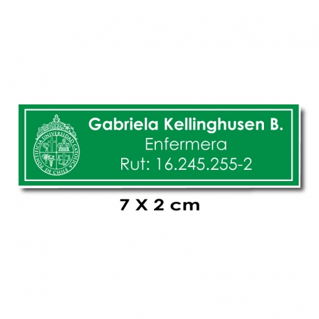 Piocha Identificación 7x2 centímetros - Verde / Blanco - elaboración EXPRÉS.