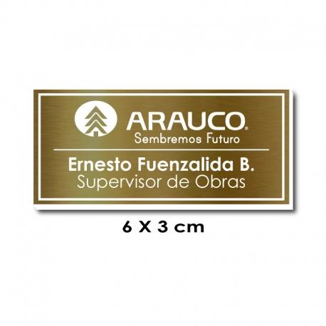 Piocha Identificación 6x3 centímetros - Dorado Oscuro / Blanco con servicio exprés