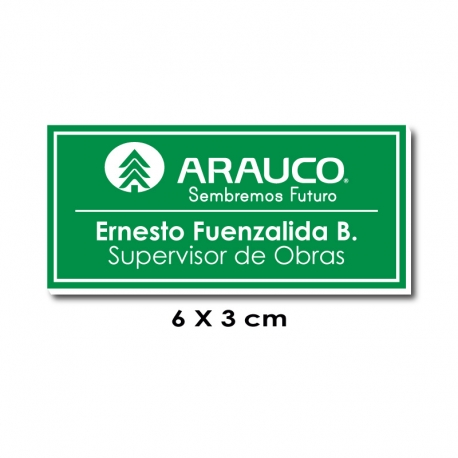 Piocha con Nombre, Cargo y Logo 6x3 centímetros - Verde / Blanco, Elaboración exprés