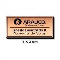 Piocha con Nombre, Cargo y Logo 6x3 cms - COBRE / Negro, con servicio exprés