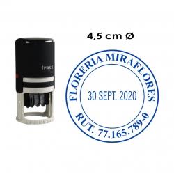 Timbre Fechador automático Traxx 7045, sello fechador circular grande. Incluye personalización de texto.