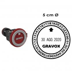 Timbre Fechador con hora y texto personalizable Traxx 9224, para entintado manual con tampón GRAVOX